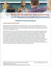 Ensure Students Are Learning: Faculty Descriptions of Innovative Teaching Practices: Preparation for Group Essay Assignment