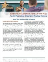 Ensure Students Are Learning: Faculty Descriptions of Innovative Teaching Practices: Menu Project Includes In-Depth Cost Analysis