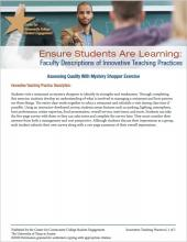 Ensure Students Are Learning: Faculty Descriptions of Innovative Teaching Practices: Assessing Quality With Mystery Shopper Exercises