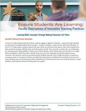 Ensure Students Are Learning: Faculty Descriptions of Innovative Teaching Practices: Learning Math Concepts Through Making Financial Life Plans